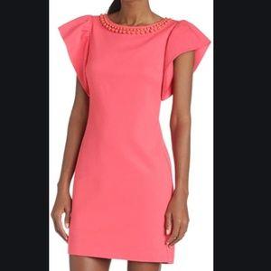 TRINA TURK Shift Dress ODELE Hot Coral Jewels 2